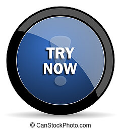 try now blue circle glossy web icon on white background, round button for internet and mobile app