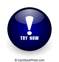 Try now blue glossy ball web icon on white background. Round 3d render button.