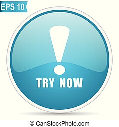 Try now blue glossy round vector icon in eps 10. Editable modern design internet button on white background.
