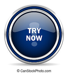 try now blue glossy web icon