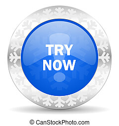 try now blue icon, christmas button