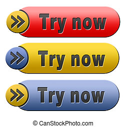 try now button - Try now button or icon free trial