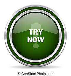 try now green glossy web icon