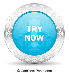 try now icon, christmas button