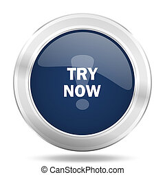 try now icon, dark blue round metallic internet button, web and mobile app illustration