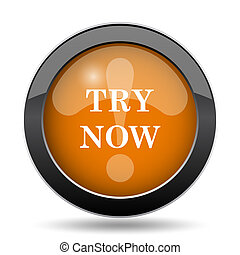 Try now icon. Try now website button on white background.