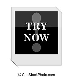 Try now icon within a photo on white background