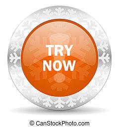 try now orange icon, christmas button