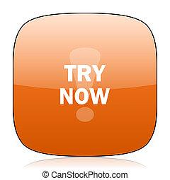 try now orange square web design glossy icon