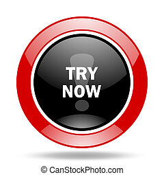 try now red and black web glossy round icon