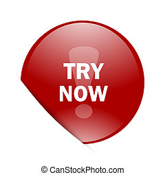 try now red circle glossy web icon