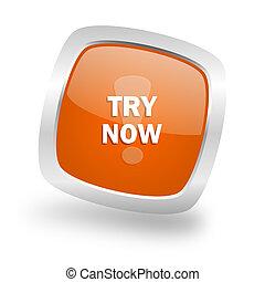 try now square orange glossy chrome silver metallic web icon
