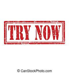 Try Now-stamp - Grunge rubber stamp with text Try Now, ...
