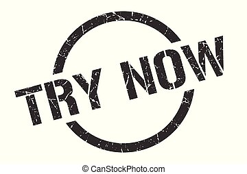 try now stamp - try now black round stamp