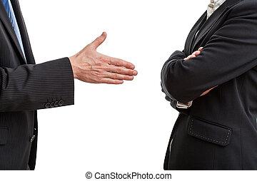 Try of handshaking between two work partners