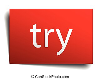 try red paper sign on white background