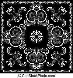 tryck, henna, fyrkant, rug., abstrakt, bandana, scarf, hals...