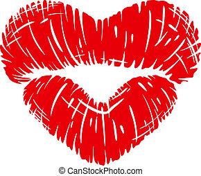 tryck, hjärta gestalta, läpp, röd