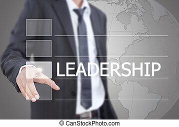 trycka, affärsman, ledarskap, word.