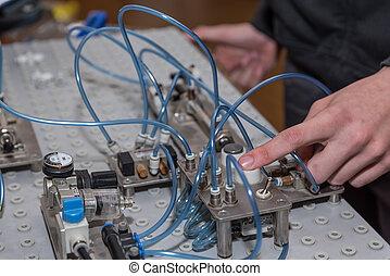 trycka, av, a, knapp, avtryckare, luft påtryckning, -, närbild