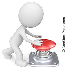 trycka, button., röd
