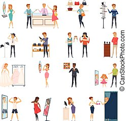 Trying Shop Flat People Icon Set