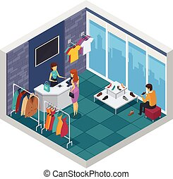 Trying Shop Isometric Composition