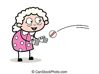 Trying to Catch a Ball - Old Woman Cartoon Granny Vector Illustration