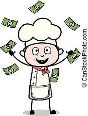 Trying to Catch Floating Money - Cartoon Waiter Male Chef Vector Illustration