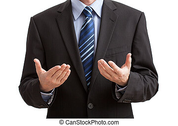 Body language gesture of explanation of problem