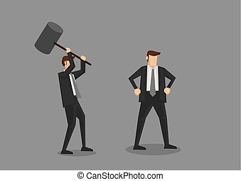 Cartoon businessman holding a huge mallet ready to hammer another unaware guy. Creative vector cartoon characters for office politics concept, isolated on grey background.