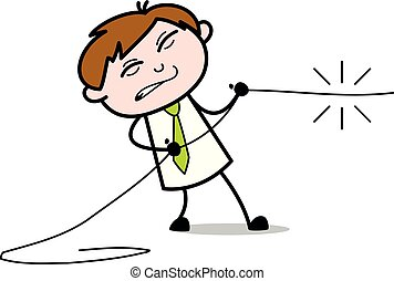 Trying to Pull The Rope - Office Salesman Employee Cartoon Vector Illustration