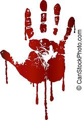 tryk, blodig, hånd