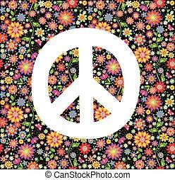 tryk, blomster, hippie, tapet