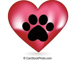 tryk, hjerte, logo, hund, pote