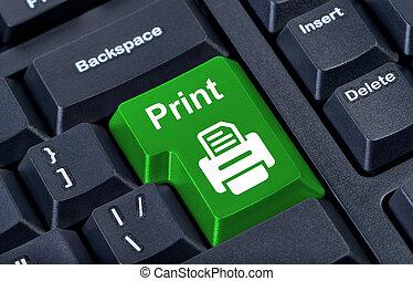 tryk, knap, hos, printer.