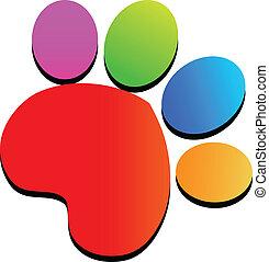 tryk, logo, farverig, pote