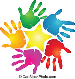 tryk, logo, stjerne, hænder