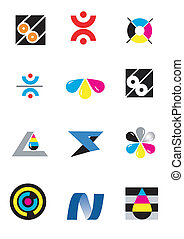 tryk, logos, selskab, konstruktion