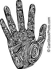tryk, mønster, abstrakt, hånd