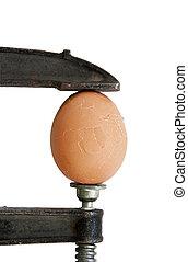 tryk, på, ægget