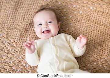 trykotowy, niemowlę, mały, koc