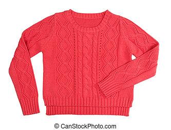 trykotowy, sweter, czerwony