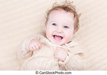 trykotowy, zabawny, strój, śmiech, niemowlę