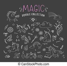 trylleri, hånd, enhjørning, doodles, fairy, stram