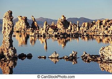 trylleri, solnedgang, på, mono sø