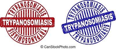 trypanosomiasis, gratté, timbres, grunge, rond
