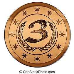 trzecie miejsce, -, wektor, medal