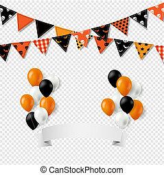 trznadel, balony, halloween, bandery, tło, chorągiew, przeźroczysty