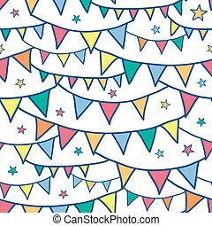 trznadel, barwny, doodle, seamless, bandery, tło modelują